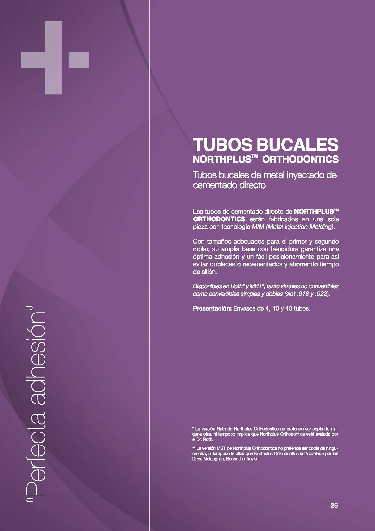 TUBOS BUCALES NORTHPLUS ORTHODONTICS