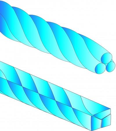 Varillas de alambre de acero trenzado de 3 hilos para retenedores TWISTADENT de Adenta - Redondo .0155 (35 cm.)