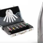 Kit de Stripping (Starter Kit E), compuesto por 6 limas diamantadas de doble cara (de 15, 25, 40, 60, 90 micras y 40 con sierra) + maletín de aluminio + juego de galgas + EVA contra-ángulo Sirona T1 Line 11